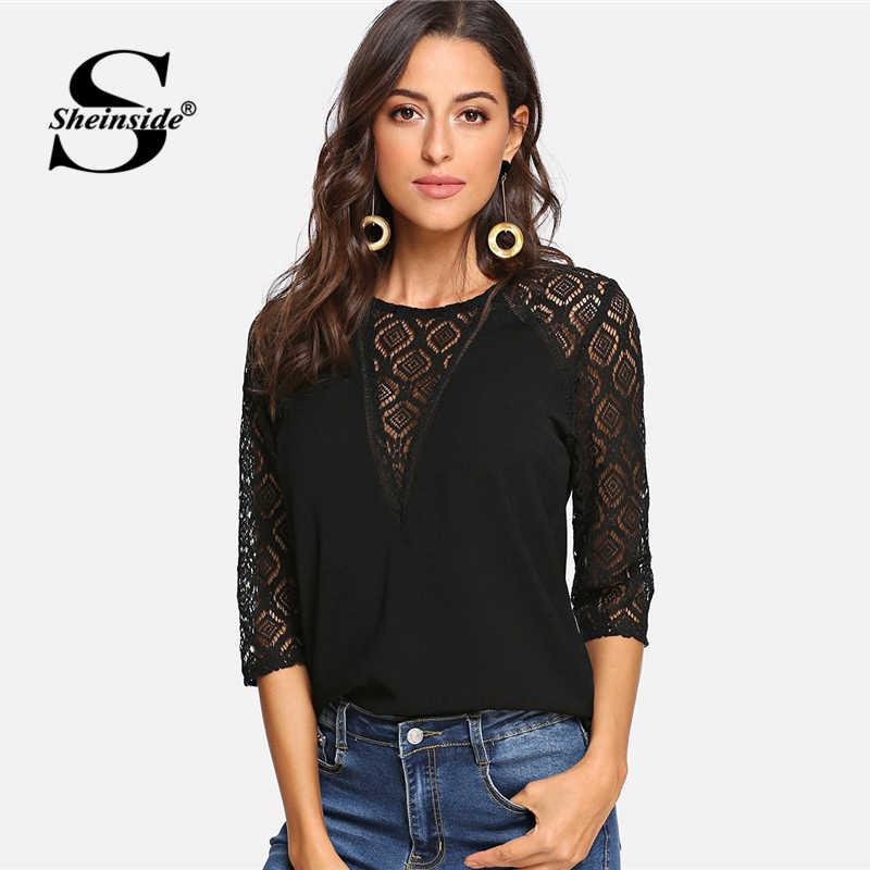 abf6681e88ed9dd Sheinside кружево панель Кнопка Замочная скважина Назад Топ женский, черный  блузка рубашка модные женские блузки