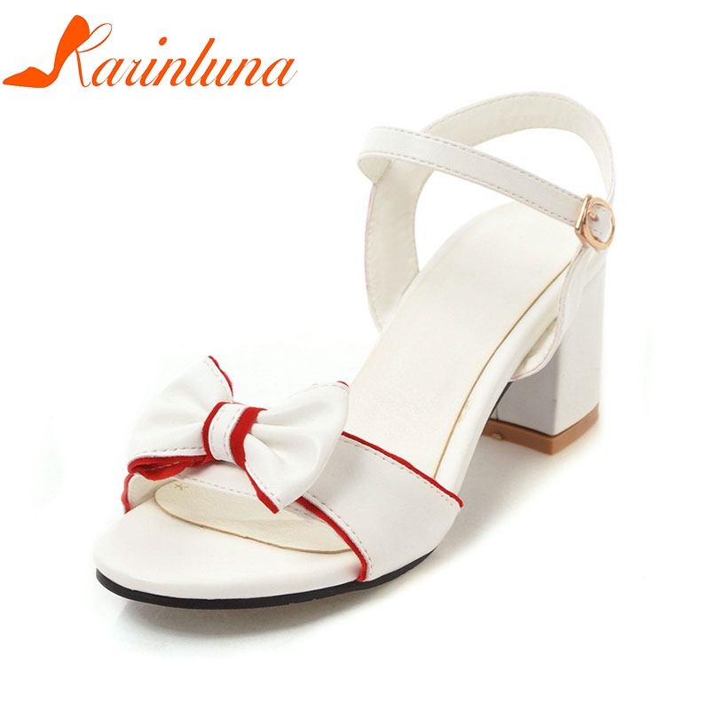 Karinluna Womens Summer Bow Tie Knot Shoes Woman Ankle Strap Chunky Heel Open Toe Sandals 2018 Big Size 34-43