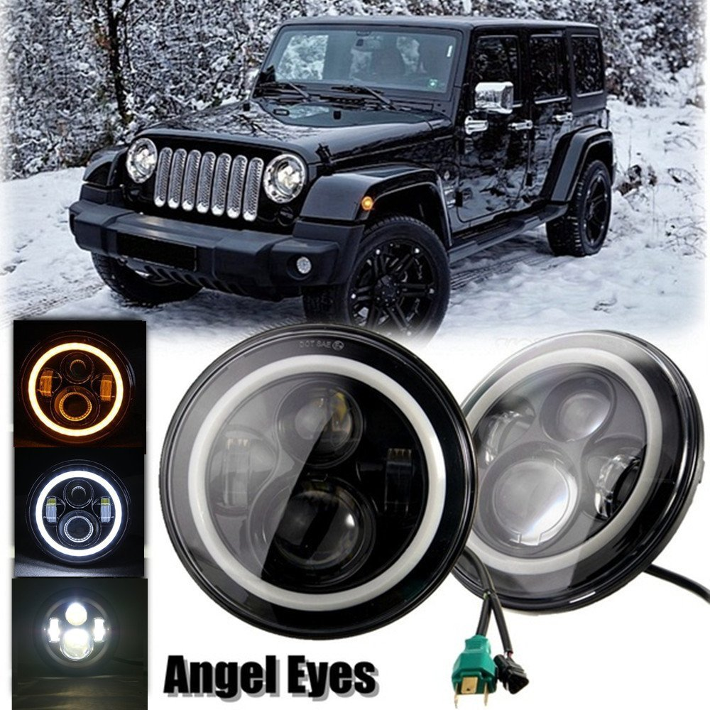 2Psc 7 Inch LED Headlight H4 H13 Hi-Lo With Halo Angel Eyes For Lada 4x4 urban Niva Jeep JK Land rover defender Hummer