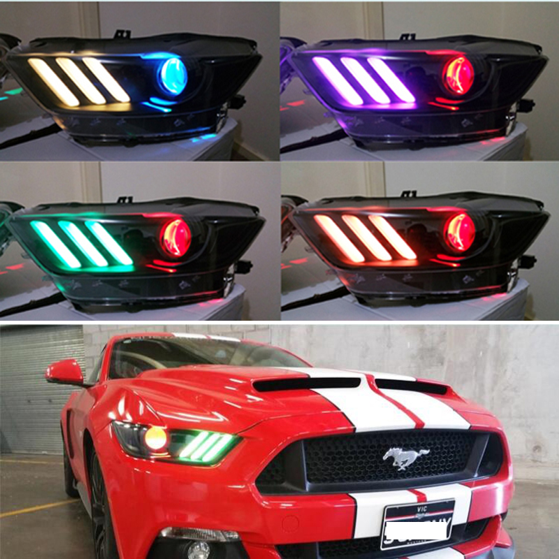 1SET RGBW LED DRL Board Car Lights Daytime Running Lights for Ford Mustang 2015 2017