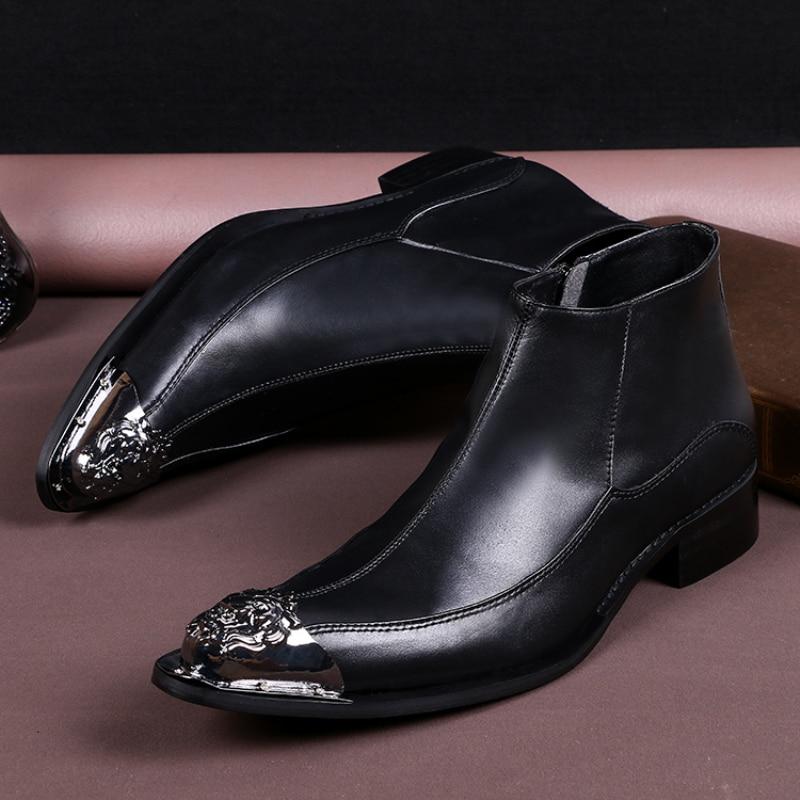Fashion Italian Men Dress Shoes Genuine Leather Black Men Ankle Boots Formal Business Dress Boots Pointed Toe Men Flat Plus Size