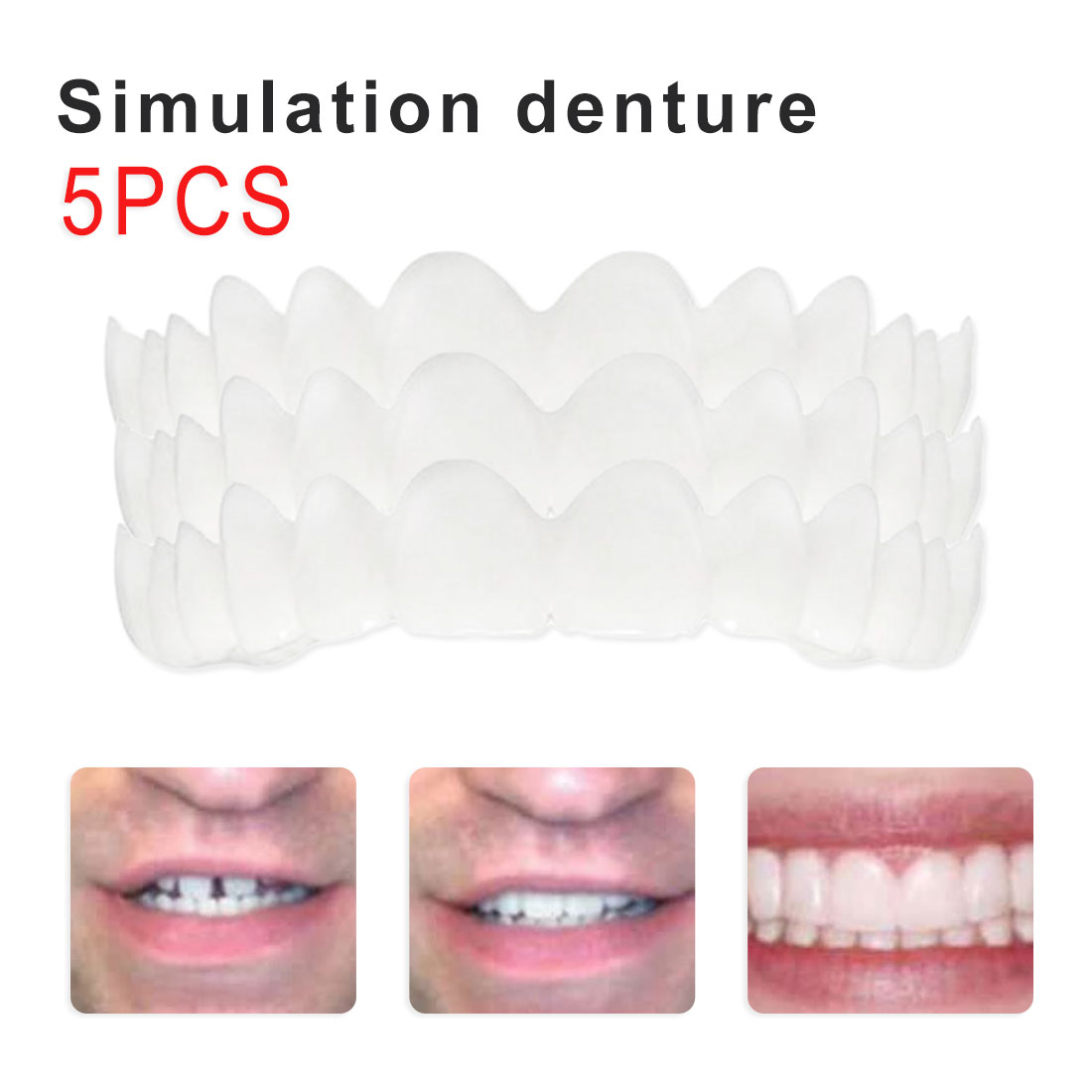 5pcs White Comfort Fit Flex White Fake Teeth Veneer Top Prosthesis For Men Women Cosmetic Veneer Oral Supplies Appliances
