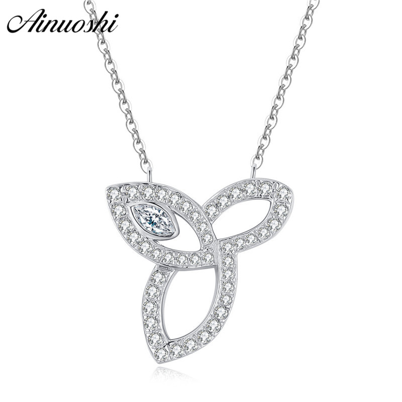 AINUOSHI Luxury 925 Sterling Silver Pendant Necklace for Women Leaves Long Chain Necklace Wedding Silver Jewelry