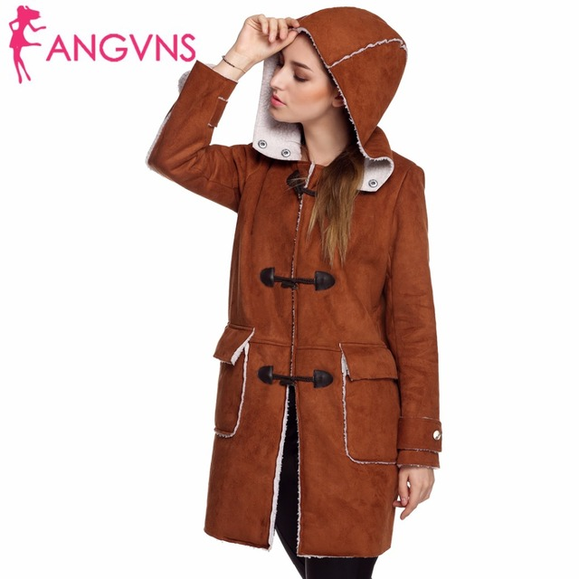 ANGVNS Winter Casual Hooded Coat Jacket Women Fashion Fur Coats Clothes Long Warm Button Pocket Coat Outerwear Overcoat