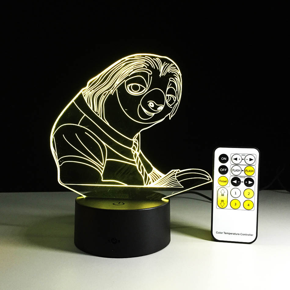 Lava lamp visualizer - Crazy Animal City Sloth 3d Visual Led Sleeping Nightlight Touch Usb Lampara Illusion Mood Dimming Atmosphere
