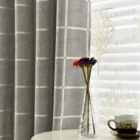 Curtains for Living Dining Room Bedroom Lattice Imitation Cotton An Nordic Simple Style, All Shading and Thickening Curtain.