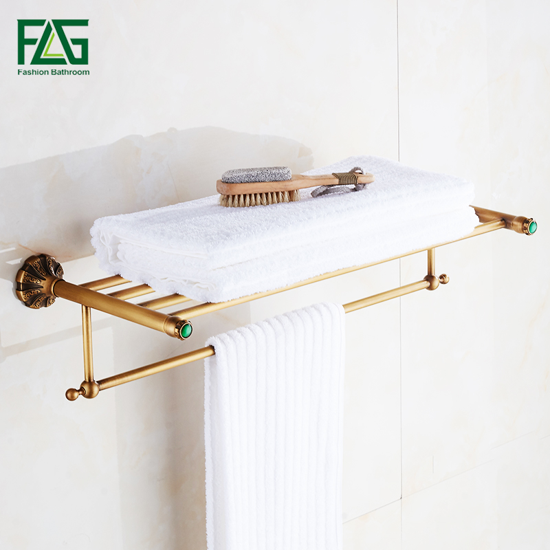 FLG Bathroom Shelves Antique Brass Wall Shelf Towel Rack Bath Holder Towel Hangers Rack Carve Bathroom Accessories Towel Bars bath towel holder antique brass double bath towel rack holder bathroom storage organizer shelf wall mount