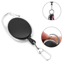 OOTDTY 1PC Retractable Reel Key Chain Pull Key ID Card Badge Tag Clip Holder Buckle New  Rope buckle convenient retractable buckle strap with clip color assorted
