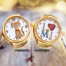 Леди Девушка золотой тон круглый эластичный сплава кварцевые часы Творческий палец кольцо часы
