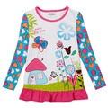 2-6y nova crianças tshirts meninas sweet roupas com flor conto de fadas impresso china fabricante barato roupa do bebê da criança t