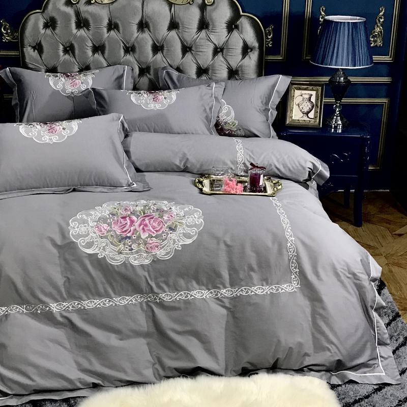 Egyptian Cotton Embroidery Luxury Royal Bedding Set Queen King White Grey Purple Bed Set Cotton Bedsheets Duvet Quilt Cover Set