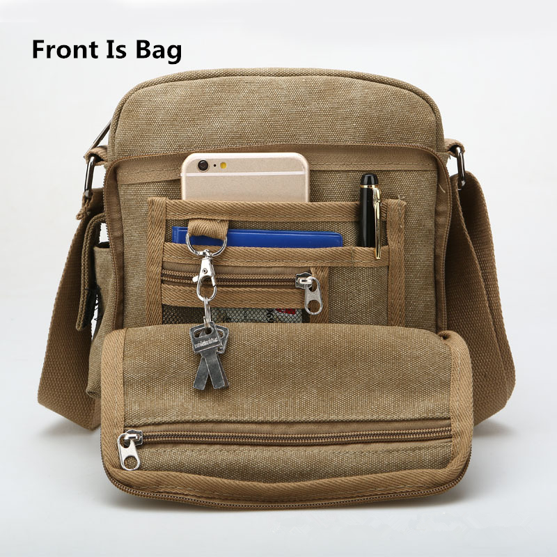 Back And Front Side Pockets Men Messenger Bags Canvas