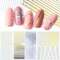 1 шт., золотистые/Серебристые 3d-клейкие ленты, наклейки для ногтей, изогнутые полоски, инструменты для самостоятельного дизайна ногтей, инст...