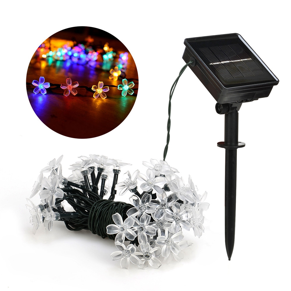 7M Solar String Christmas Lights Outdoor 23 ft 50 LED 3Mode Waterproof Flower Garden Blossom Lighting Party Home Decoration 3