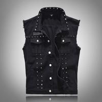 New Spring Denim Vest Men British Style Rivet Cowboy Vest Sleeveless Jackets Fashion Slim Fit Black Men's Jean Waistcoat 5XL
