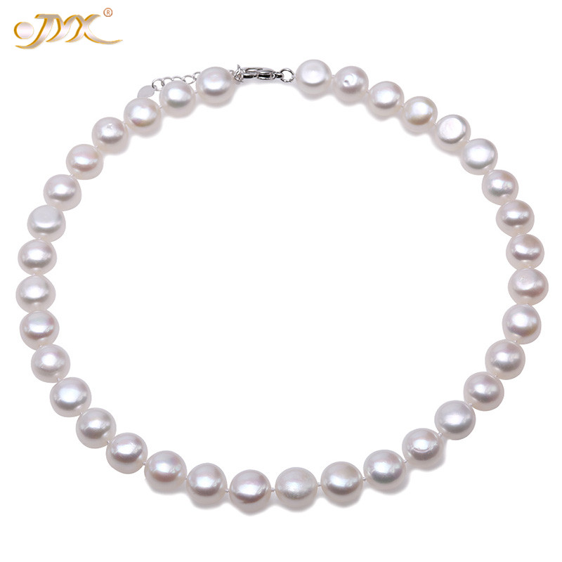JYX Genuine White Natural Pearl Necklace high luster 11.5mm flat round cultured Freshwater Necklace women Jewelry 17JYX Genuine White Natural Pearl Necklace high luster 11.5mm flat round cultured Freshwater Necklace women Jewelry 17