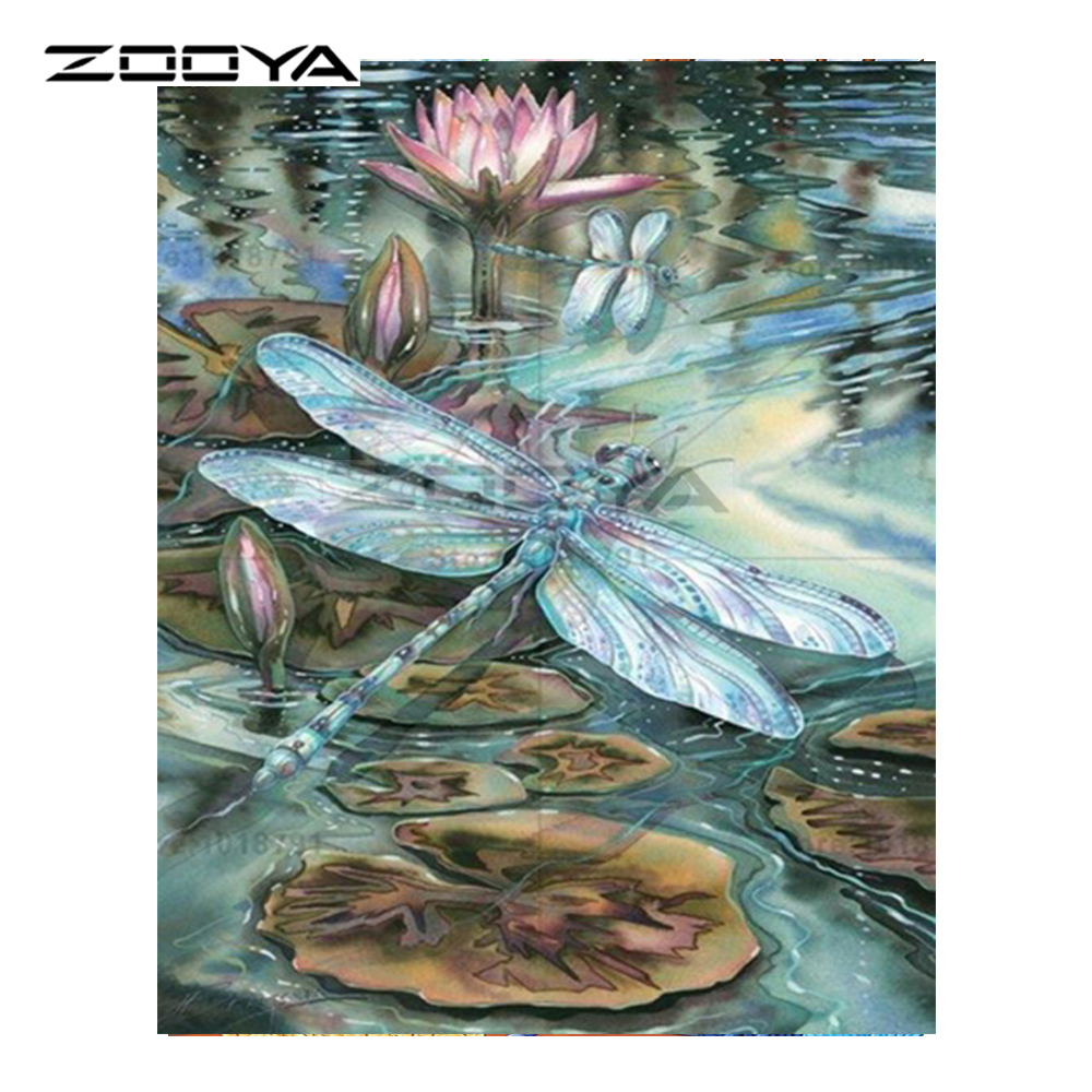 Zooya Diy Diamond Embroidery Animal Dragonfly Lotus Flower In Water