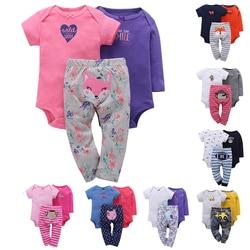 Frete grátis novo conjunto de roupas de algodão bebê menino meninas infantil conjunto bodysuit 3 pçs pacote longo bodysute + curto calças compridas