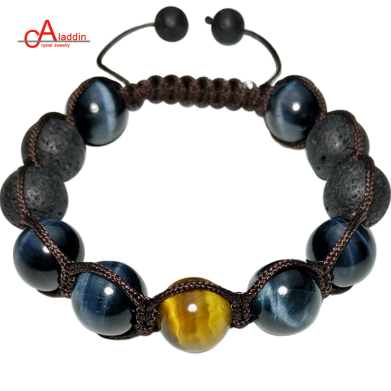 Aladdin 2018 New Punk Style Handmade Chakra Bracelets Nature Yellow & Blue Tiger Stone and Lava Bead Bracelet for male gift