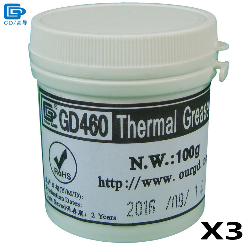 GD460 Thermal Conductive Paste Grease Silicone Plaster Heat Sink Compound 3 Pieces Silver Net Weight 100 Grams For LED CPU CN100 gd brand thermal conductive paste grease compound silicone gd220 heat sink plaster net weight 20 grams gray for led ps4 cpu st20