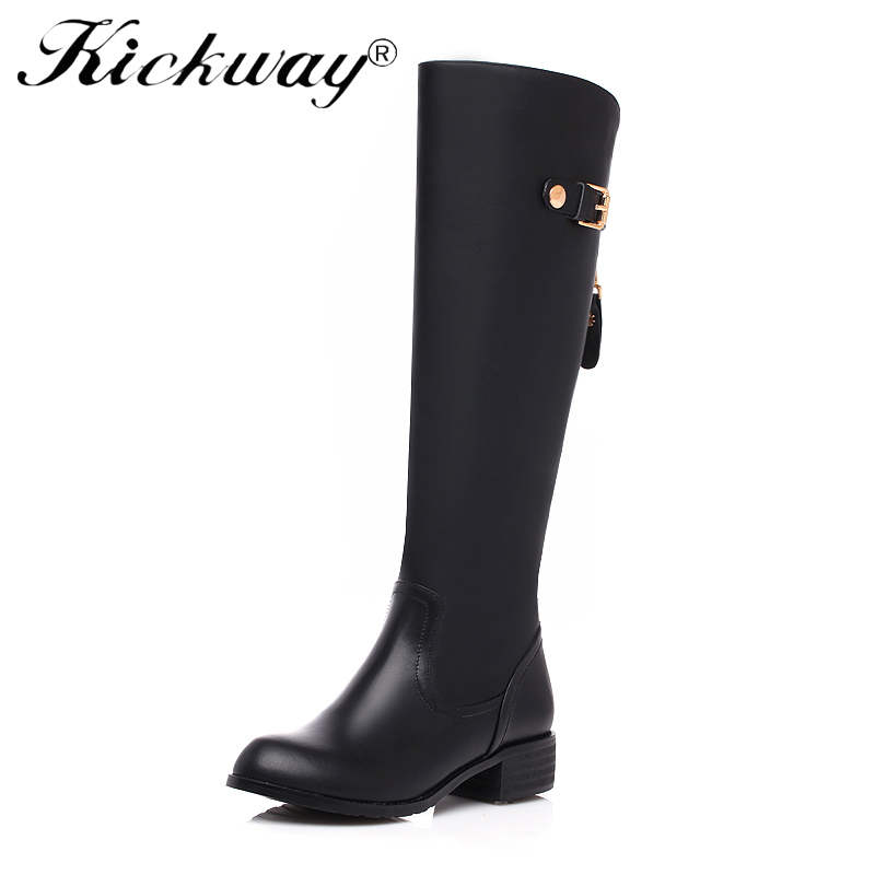 Kickway Women Winter Thick med Heel Knee High Boots Fashion Buckle Platform Side Zipper Round Toe Shoes Woman plus size 34-46 стоимость