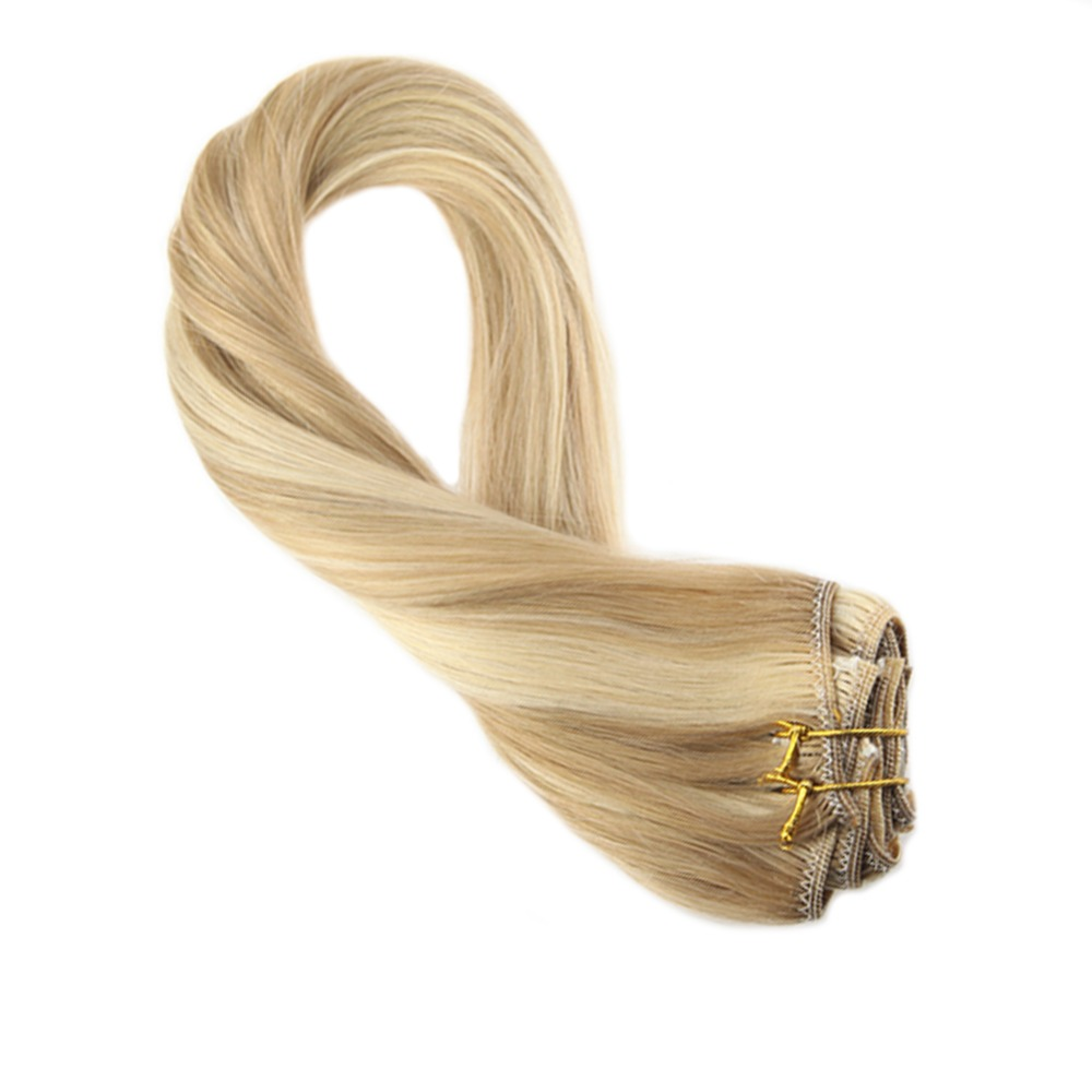 Moresoo Straight Clip In Hair Extensions Human Hair Blonde #P14/613 Clip Ins Full Head 16-24 Inch 7Pcs 100g Remy Brazilian Hair