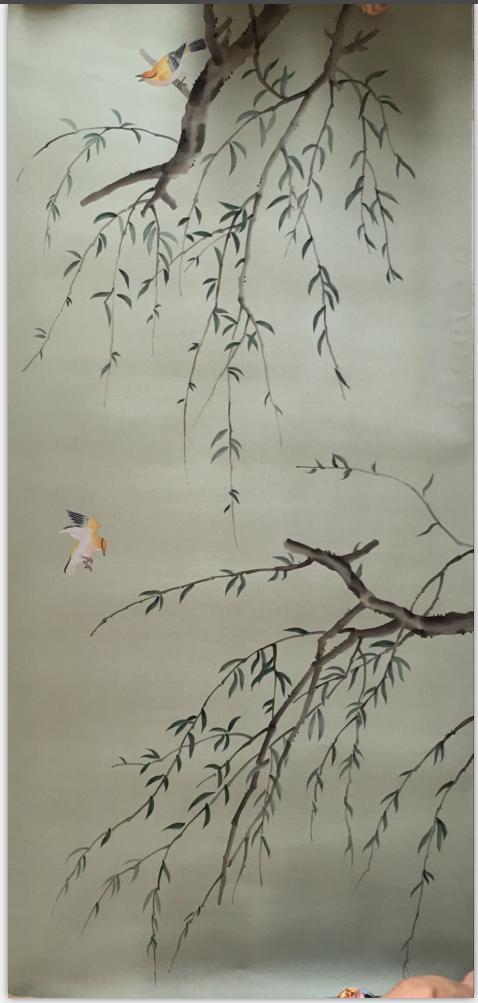 Классический стиль Элегантный Ручная роспись шелковые обои картина ива дерево с птицами обои много искусства/фон опционально - 5