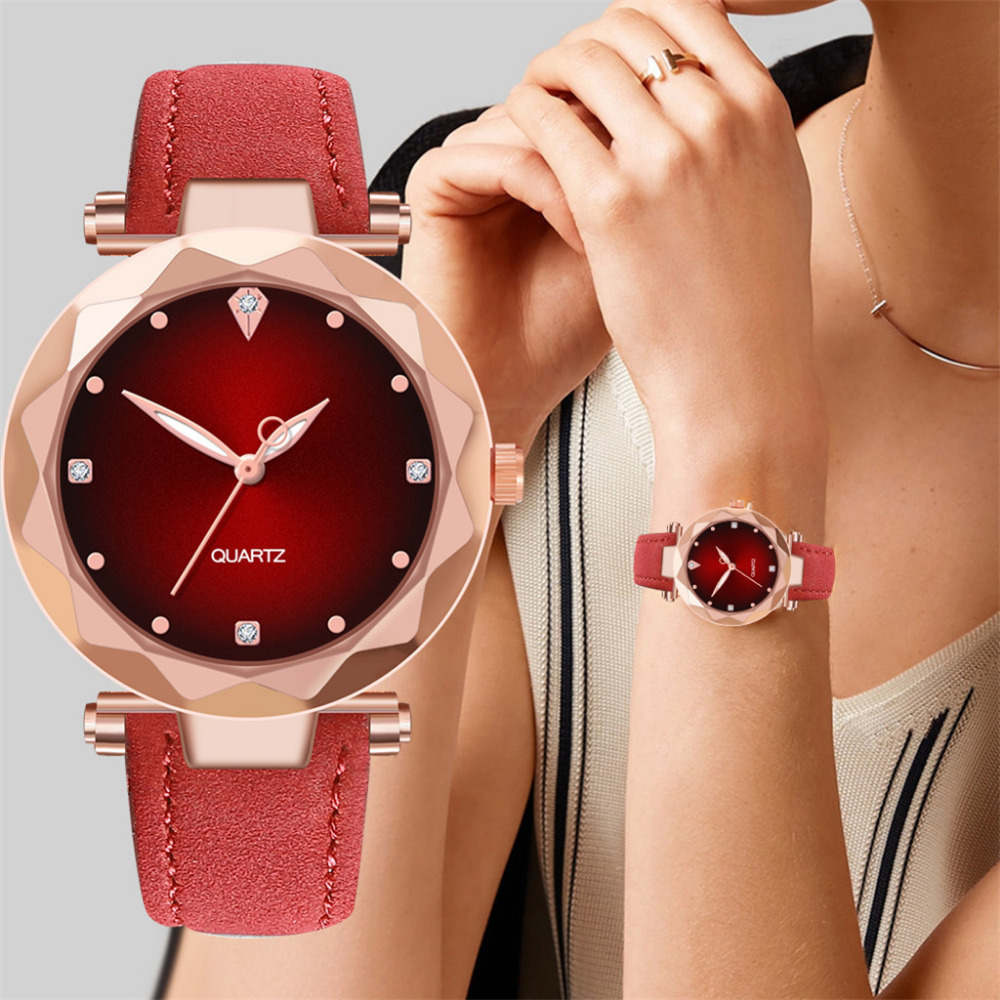 Dropshipping Women Luxury Brand Relogio Feminino Diamond Quartz Wrist Watch Round Analog Leather Band Horloges Casual Watch