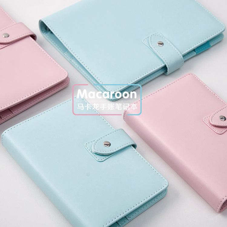 Macaroon Color A5&A6 Book Cover Cute Hobonichi Style Notebook PU Leather Diary Journal Notepad Book Cover Kawaii Stationery 6 color random soft cover pu leather notebook writing journal 100 page lined diary book