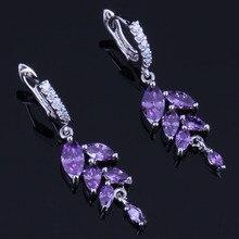 цена Distinctive Plant Purple Cubic Zirconia White CZ 925 Sterling Silver Drop Dangle Earrings For Women V0753
