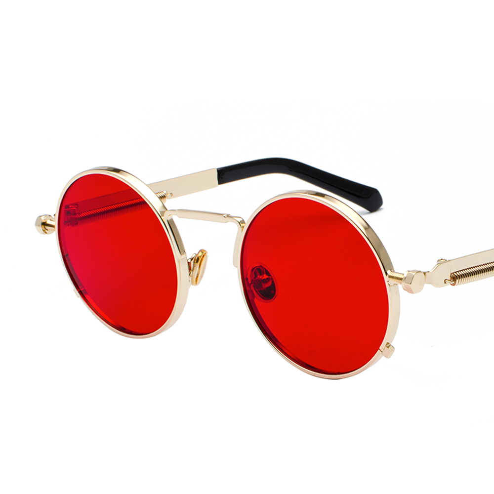 Peekaboo clear red sunglasses men steampunk 2019 metal frame retro vintage round sun glasses for women black uv400 3