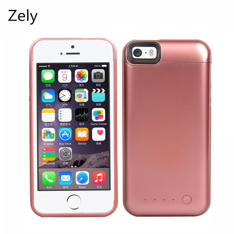 imágenes para Zely Caso cajas Del Teléfono 3600 mAh Banco de la Energía Paquete Externo de La Batería de Copia de seguridad caso del cargador para el iphone 5s 5 se batería cubierta de la caja eléctrica