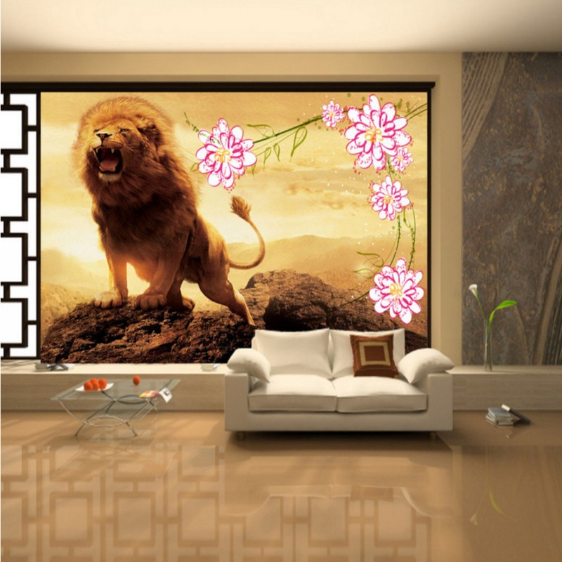 Custom 3d wallpaper  3D wallpaper Chinese landscape painting lion Living room bedroom decoration background mural custom baby wallpaper snow white and the seven dwarfs bedroom for the children s room mural backdrop stereoscopic 3d