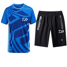 Summer 2019 DAIWA Dawa Short Sleeve Fishing Jerseys Fast-dry Breathable Outdoor Sports Light Thin T-shirt and Shorts 2cps Set
