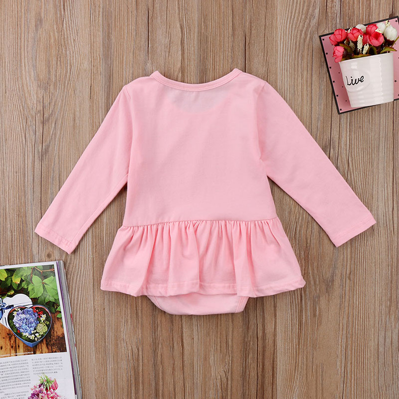 496dcf6b509 Cute Newborn Baby Girl Long Sleeve Solid Color Cotton Tutu Skirted Romper  Jumpsuit Outfits Baby Clothes 0 24M Tags