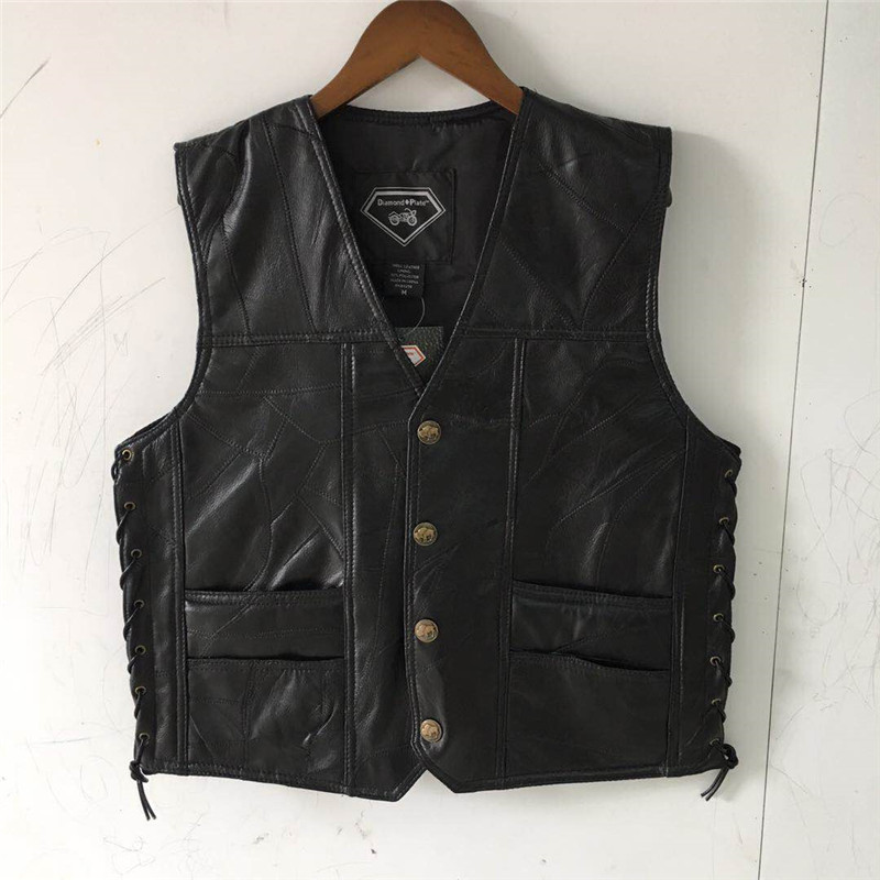 Classic Motorcycle Vest Leather Men Black Waistcoat Male Biker Punk Genuine Leather Button Lace Up Autumn