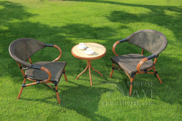 3 Pieces Cast Aluminum Patio Furniture Garden Furniture Outdoor Furniture  Mesh Fabric Furniture