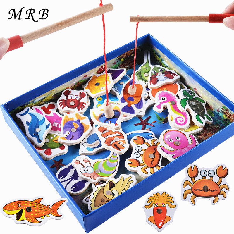 Wooden toys 32Pcs Fish Magnetic Fishing Toy Set Fish Game Educational Fishing Toy Child Birthday Gift