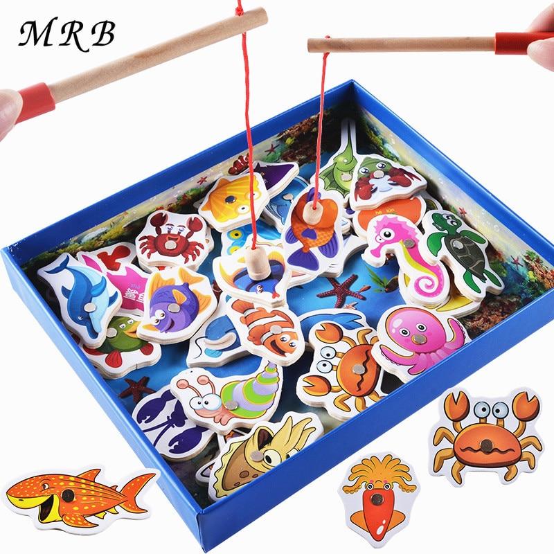 цена на Wooden toys 32Pcs Fish Magnetic Fishing Toy Set Fish Game Educational Fishing Toy Child Birthday Gift Montessori oyuncak
