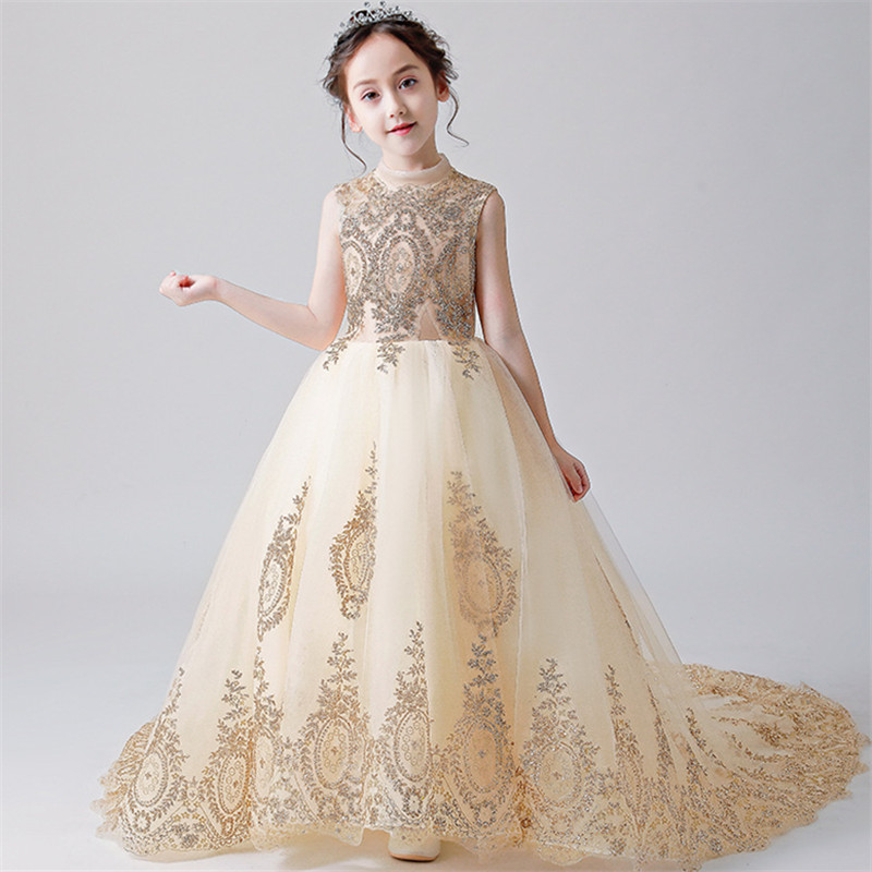 Flower Girl Bead Decoration Long Dress 2019 New Girl Wedding Party Exchange Dress Ball Beauty Sexy