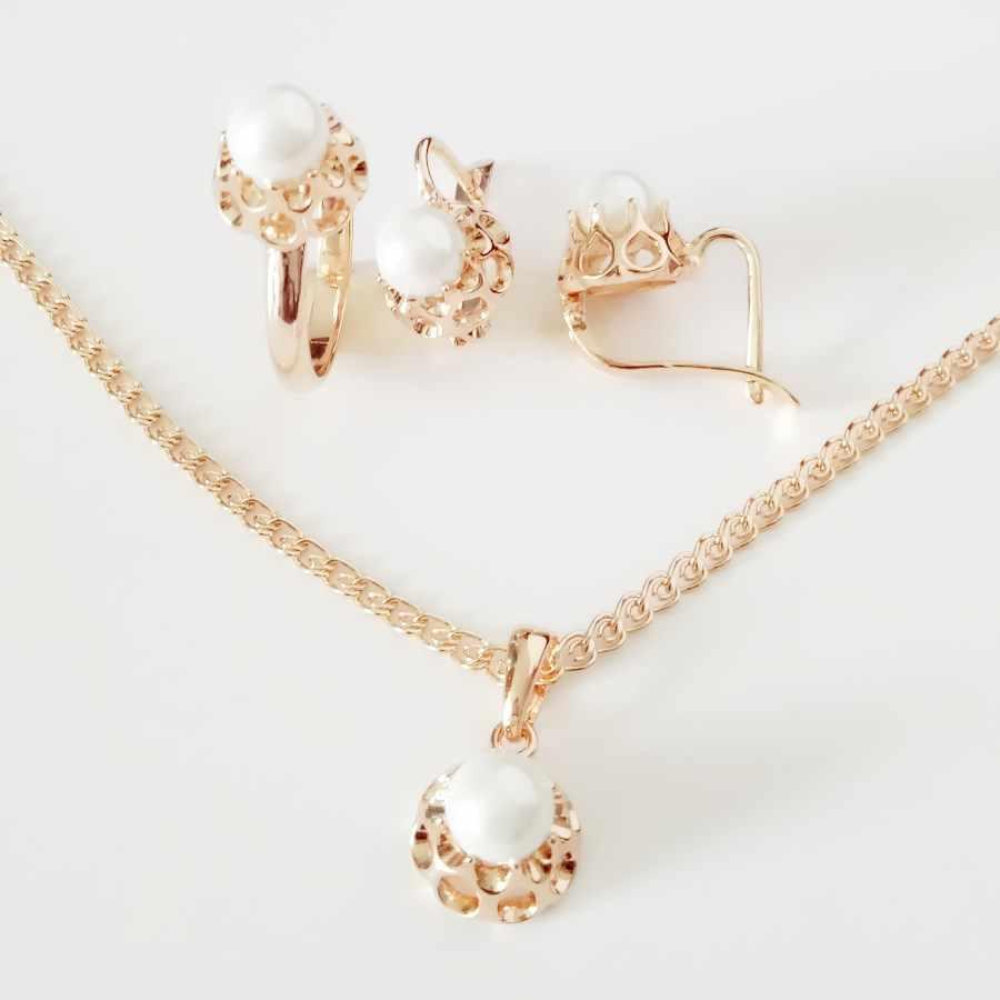 6a5bcd83d28c Новый 2018 розовое золото Ювелирные изделия из жемчуга модные свадебные  украшения ...