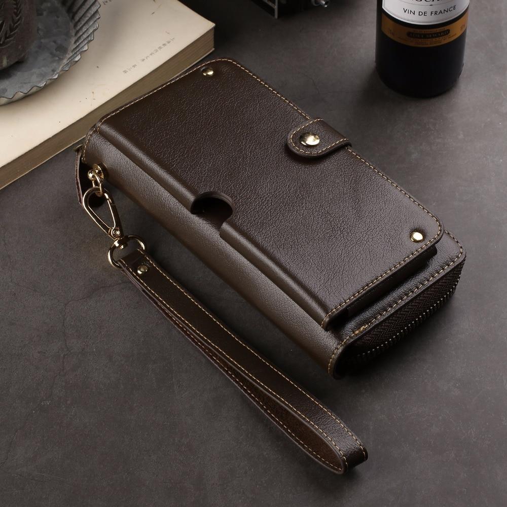 Genuine Cow Leather Wallet Finger Ring Belt Strap Phone Case Pouch For Huawei Enjoy 9,nova 4,P Smart (2019),Leagoo T8 T8S S10