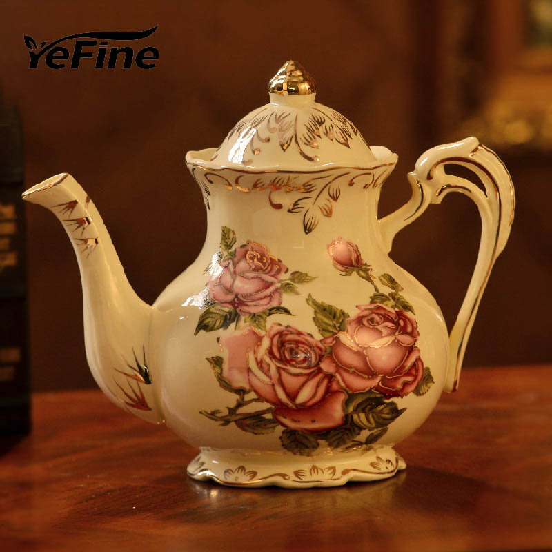 YeFine Ivory Ceramic Coffee Pot Practical Coffee Tools Accessories Italian Ceramic Pot Elegant Tea Kettle Porcelain