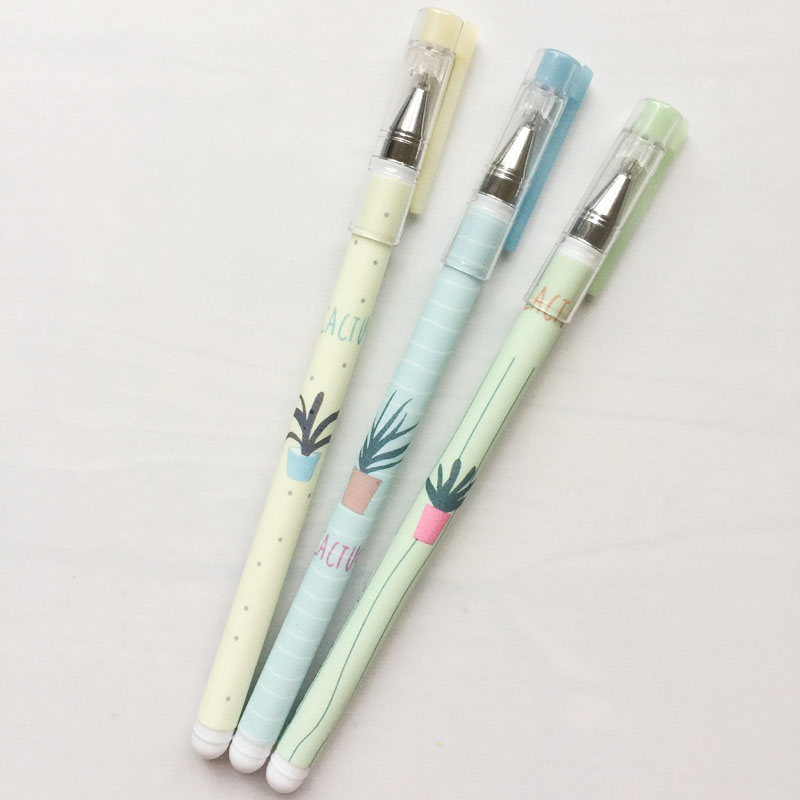 3PCS Fresh Green Plants Cactus Gel Pen Writing Signing Pen School Office Supply Student Stationery Black Ink 0.18mm