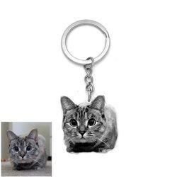 Personalizado fornecer foto chaveiro personalização de aço inoxidável diy cão chaveiro pet jóias gravadas