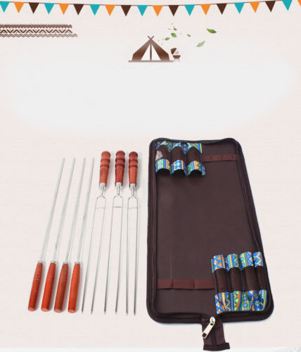 7pcs Stainless Steel BBQ Sticks Broiled Barbecue Roasting Skewer Fork Cooking