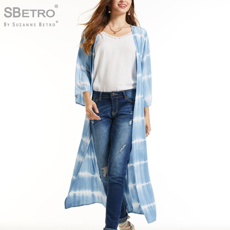 SBetro Women's Printed Woven Tie Dye Kimono Women Ladies Femme Loose 2019 Fashion Clothing Long Coat Elegant Plus Size 2019