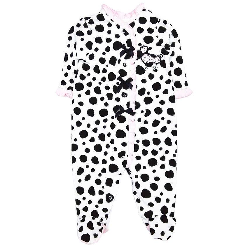 Комбинезоны для маленьких мальчиков и девочек; коллекция 2019 года; Одежда для новорожденных; 100% хлопок; с длинными рукавами; bebe; с круглым вырезом; в черный горошек; Одежда для младенцев