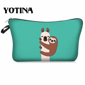 Yotina Makeup Bag Women Cosmetic Bag With Multicolor Pattern  llama 3D Printing neceser Toiletry Bag Travel makeup Organizer