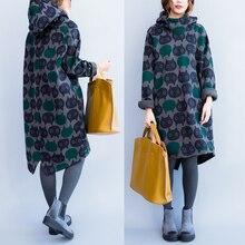 Корейский Тонкий размера плюс Длинный срез утолщенное платье с капюшоном зимняя женская толстовка с капюшоном с принтом совы